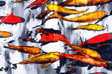 Abstract digital painting of carp fish