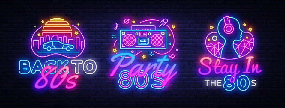 80's collection neon signs vector. Back to the 80s design template concept. Neon banner background design, night symbol, modern trend design. Vectro Illustration