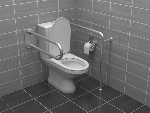 Toilet for disabled people. Equipped with grab bars. 3d rendering illustration