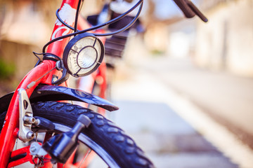 Bike in the city: Front picture of a city bike, blurred background