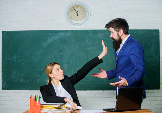 Criticism and objection concept. Teacher wants man to shut up. Please shut up. Tired of complaints. Indifferent about objection. Dismissed objection. School teacher and parent. Stop talking to me