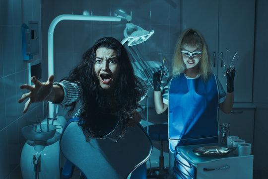 Horror scene in dentist office