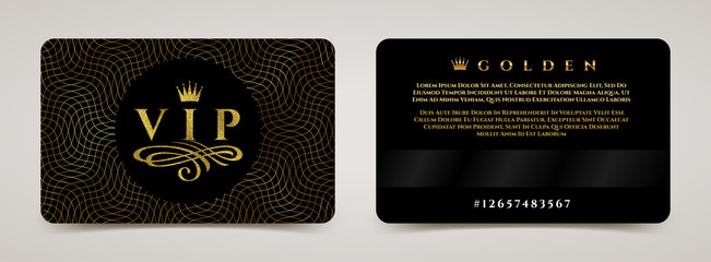 Golden VIP card template - type design with crown, and flourishes element on a guilloche background. Vector illustration.