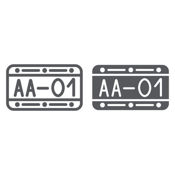 Car number line and glyph icon, automobile and part, metal number sign, vector graphics, a linear pattern on a white background.