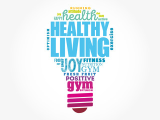 Healthy Living light bulb word cloud, health concept background