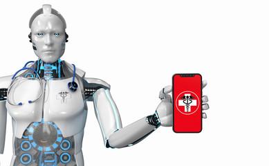 Fototapete - Humanoid Robot Medical Assistant Smarthone E-Health