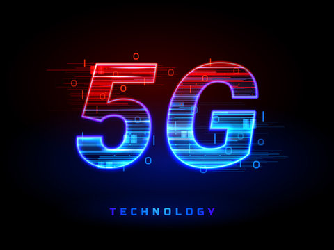 5g wireless speed connection technology sign. Mobile internet communication broadband of fifth generation. IOT or internet of thing concept. Home wifi or smartphone tech with data flow as lines.