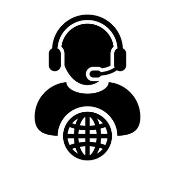 Man customer service icon vector call center person profile symbol with headset for internet network online support in glyph pictogram illustration