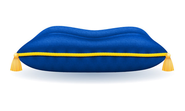 blue velvet pillow with gold rope and tassels vector illustration