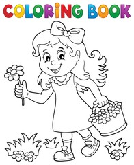 Poster Voor kinderen Coloring book girl with flower theme 1