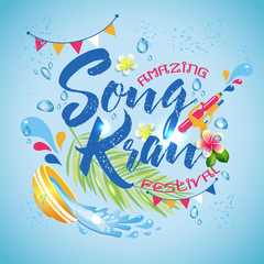 Amazing Thailand Songkran festival design on blue water background, vector illustration