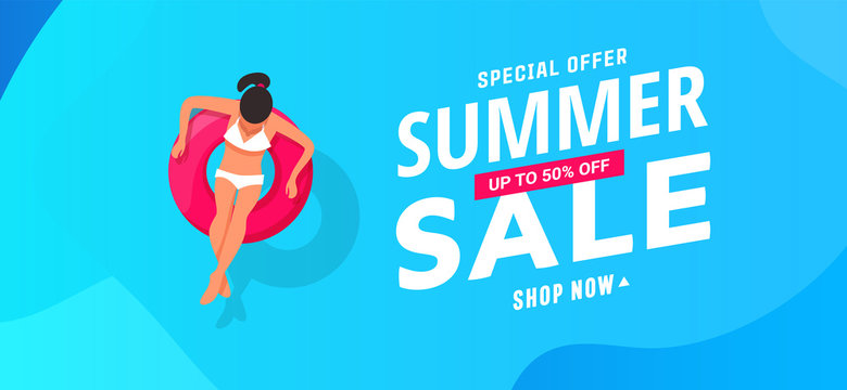 Summer sale banner design with young woman swims, tanning on life buoy in swimming pool, top view background. Vector illustration