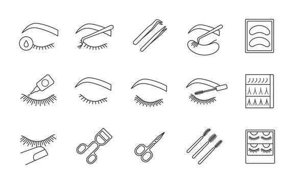 Eyelash extension linear icons set