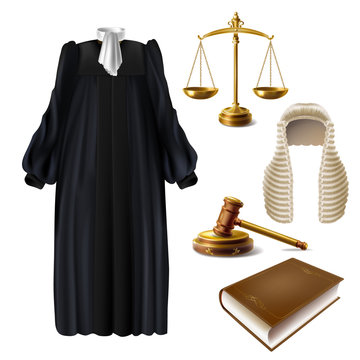 Judge ceremonial clothing, wooden gavel and scales of justice realistic vector isolated on white background. Court dress with long wig black robe and bow tie on collar illustration. Law system symbols