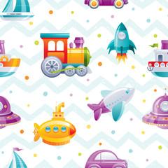 Modèle sans couture de transport de jouet de dessin animé. Joli bateau garçon 3d, voiture, avion, sous-marin, voilier, train, fusée, conception de papier peint. Illustration vectorielle amusante isolée sur fond dessiné à pois en zigzag