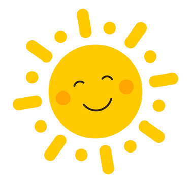 Cute smiling sun icon.