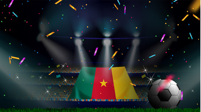 Fans hold the flag of Cameroon among silhouette of crowd audience in soccer stadium with confetti to celebrate football game. Concept design for football result template