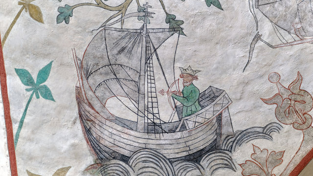 Medieval depiction of Olaf II of Norway's sailing competition against Harald Hardrada from Odsherred church in Denmark. Olaf shooting an arrow in the sailing direction, legend has it he catches it.