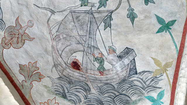 Medieval depiction of Harald Hardrada's sailing competition against Olaf II of Norway's from Odsherred church in Denmark. Harald is clearly not happy while loosing to Olaf
