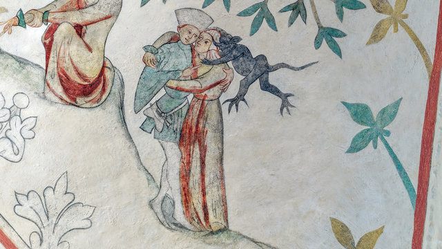 Medieval church fresco from Odsherred in denmark. A young couple embraces each other while a devil sits on the woman shoulder and whispers trying to make er break the commandment about adultery.