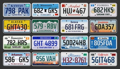 USA American states vehicle registration plates