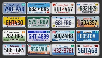 USA American states vehicle registration plates