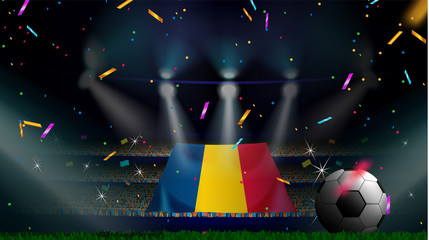 Fans hold the flag of Romania among silhouette of crowd audience in soccer stadium with confetti to celebrate football game. Concept design for football result template