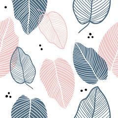Floral seamless pattern of leaves in flat style. Colorful leaf endless background for textile print, fabrics, wrapping paper, season design, card, decoration, invitation. Pastel colours.