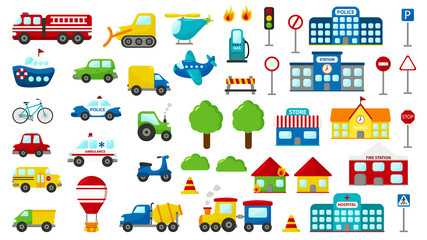 Set of cartoon vector transportation. Cute cars: police, ambulance, fire engine, truck, bus. Road signs. Buildings: fire station, hospital, station, police station, school and store.