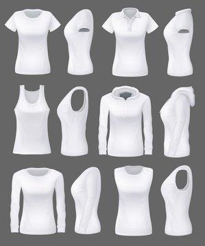 Woman clothing mockup models, white sport shirts