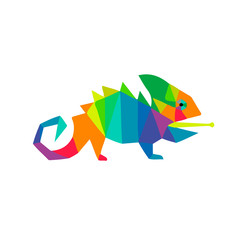A chameleon cartoon lizard rainbow color character