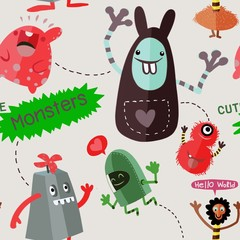 seamless cool monsters pattern vector illustration