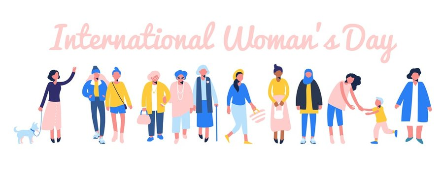 International womens day 8 March, women empowerment movement. Group of female different characters of diverse ethnicity and age standing together.