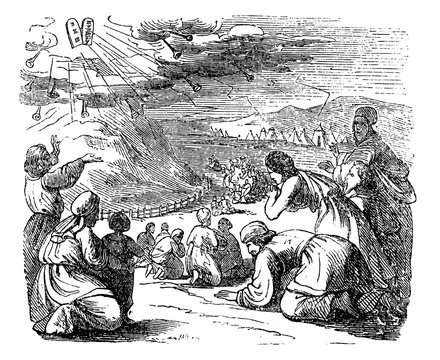 Vintage Drawing of Biblical Story of Israelites Bow Down Under Mount Sinai When Got Give Moses Stone Tablets With Ten Commandments