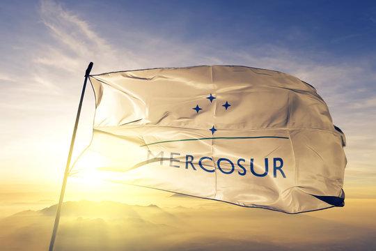 Mercosur Mercado Comun del Sur flag waving on the top