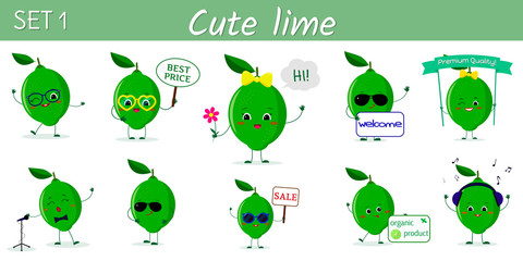 Set of ten cute kawaii lime characters in various poses and accessories in cartoon style. Logo, template, design. Vector illustration, flat design