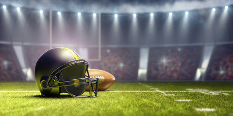 American football background with ball and black helmet 3D Rendering