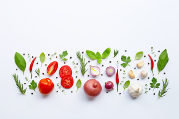 Various fresh vegetables and herbs on white background. Healthy eating concept Wall mural