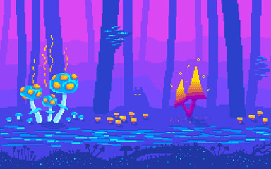 Foto auf Leinwand Dunkelblau Pixel art fantasy game location with mushrooms.