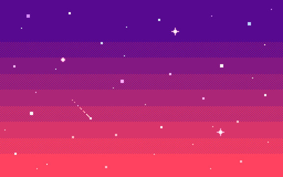 Pixel art star sky at evening. Vector background.