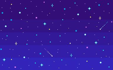 Pixel art night starry sky.
