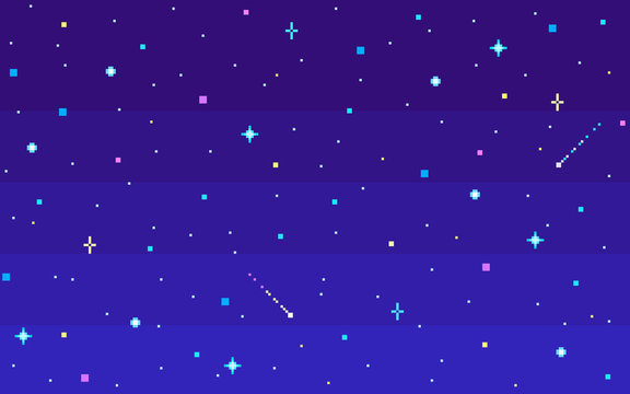 Pixel art night starry sky.