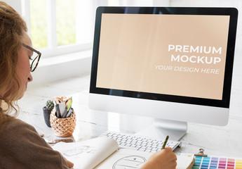 Female Designer Working on Desktop Computer Mockup