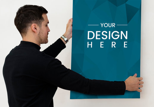 Person Holding Blue Poster Mockup