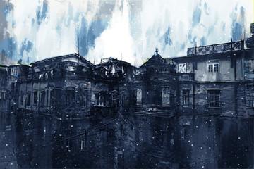 Obraz cyfrowy ulicy spacerowej w mieście, ciemny obraz tonowy - 259162324