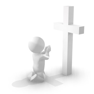 3D Man Kneeling and Praying in Front of a Cross. Illustration of a White 3D Character in Prayer, with Palms Pressed Together. Isolated on White Background with Shadow.
