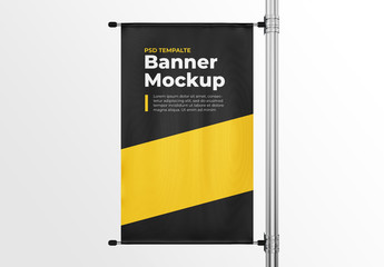 Vertical Pole Banner Mockup Template