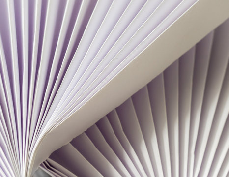 Close-Up Abstract White on White Accordion folded paper shades with diagonal lines