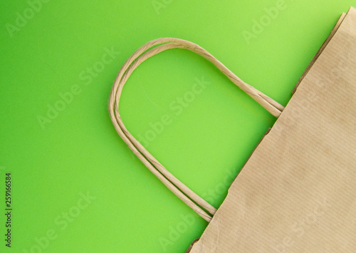 Concept Of Zero Waste Reusable Paper Bag For Ping Free Plastic Green Background Top View