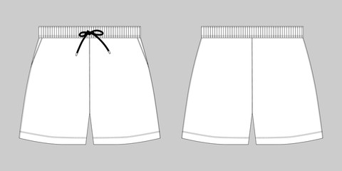 Technical sketch sport shorts pants design template.